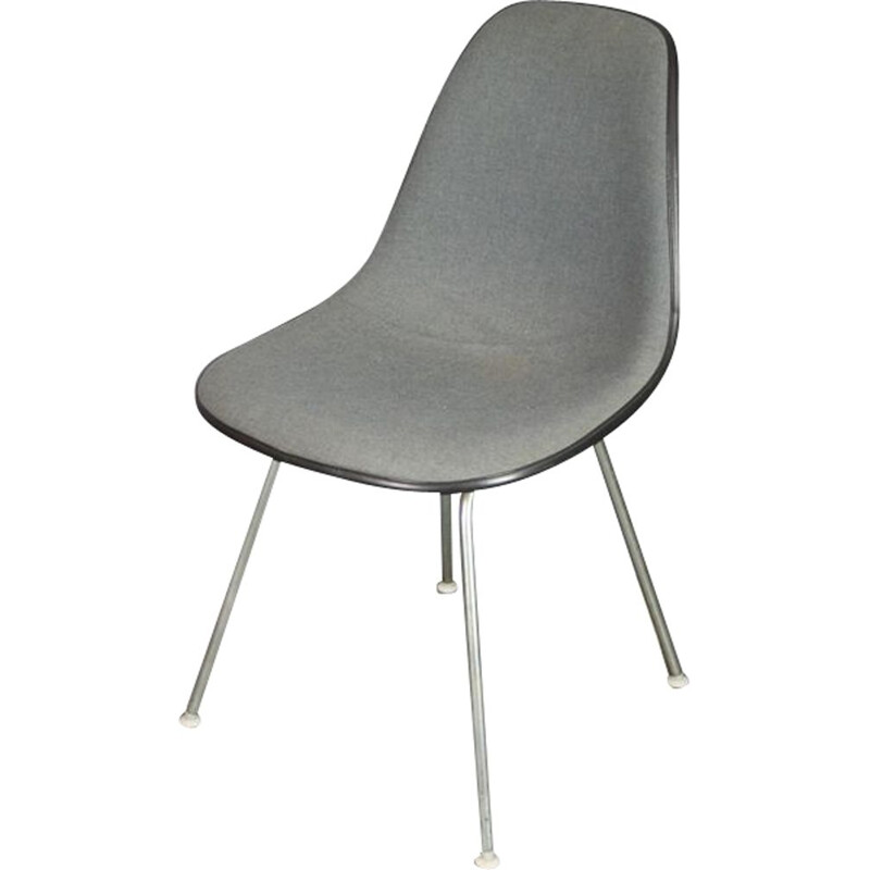 Vintage DSX chair by Eames in fiberglass and gray fabric