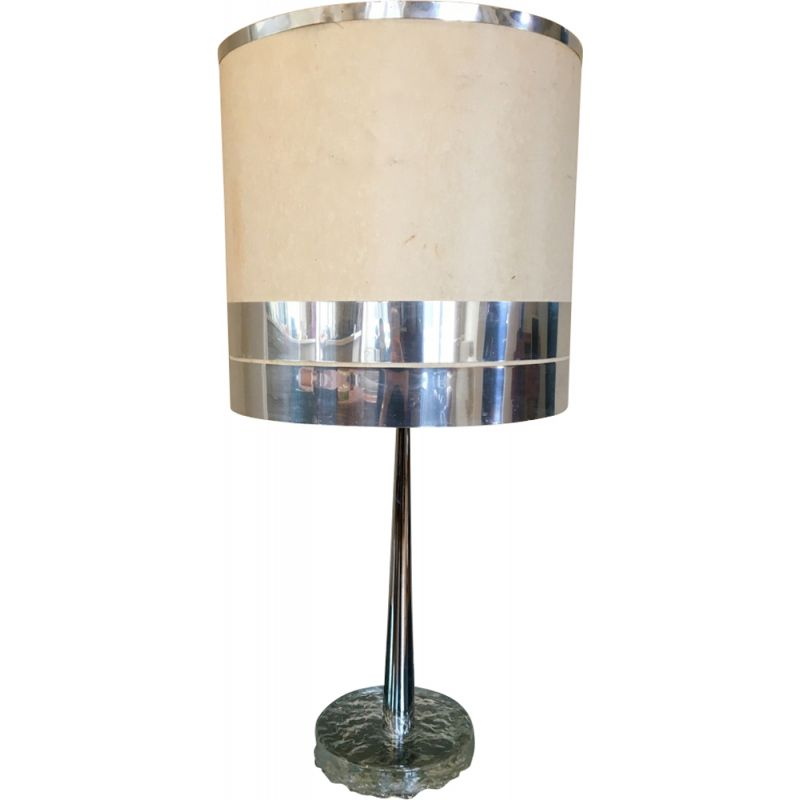 Vintage italian lamp by Brotto in silver metal 1970