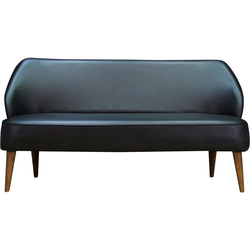 Vintage scandinavian sofa in black leatherette 1980