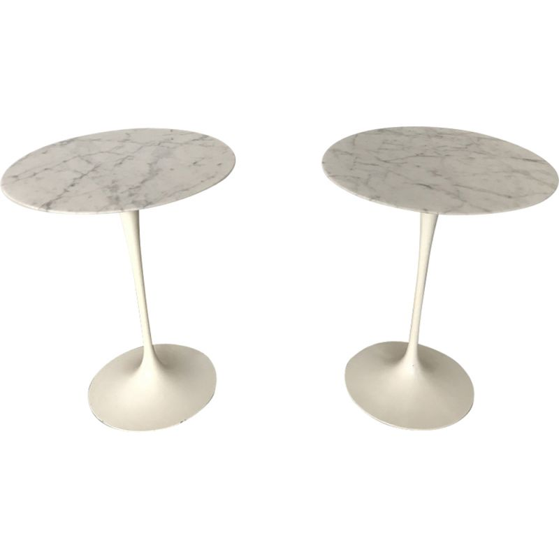 Pair of vintage side tables for Knoll in marble and aluminium