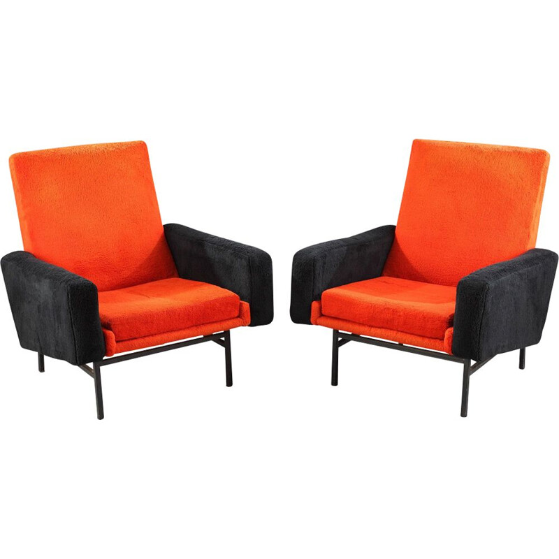Pair of vintage french armchairs in orange wool and metal 1950