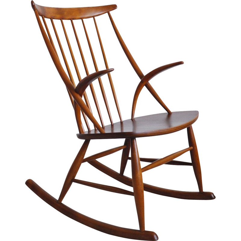 Vintage scandinavian rocking chair for Niels Eilersen in beechwood and mahogany