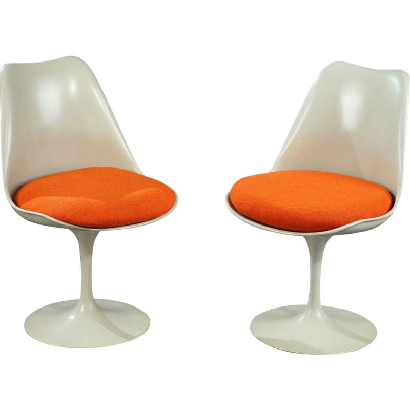 Vintage Tulip chairs for Knoll in beige metal and orange fabric
