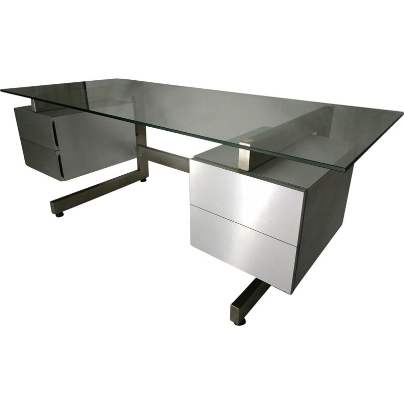 Vintage grey metal desk 1970s