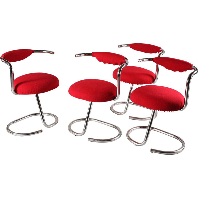 Set of 4 vintage chairs in red fabric and tubular steel