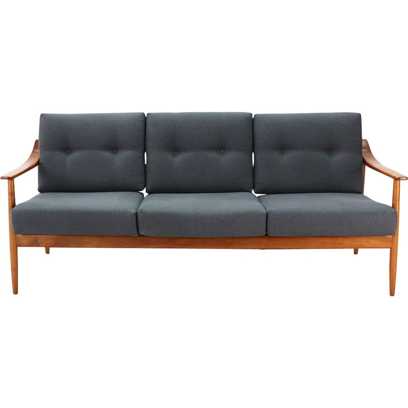 Vintage 3-seater sofa in grey fabic by Wilhelm Knoll