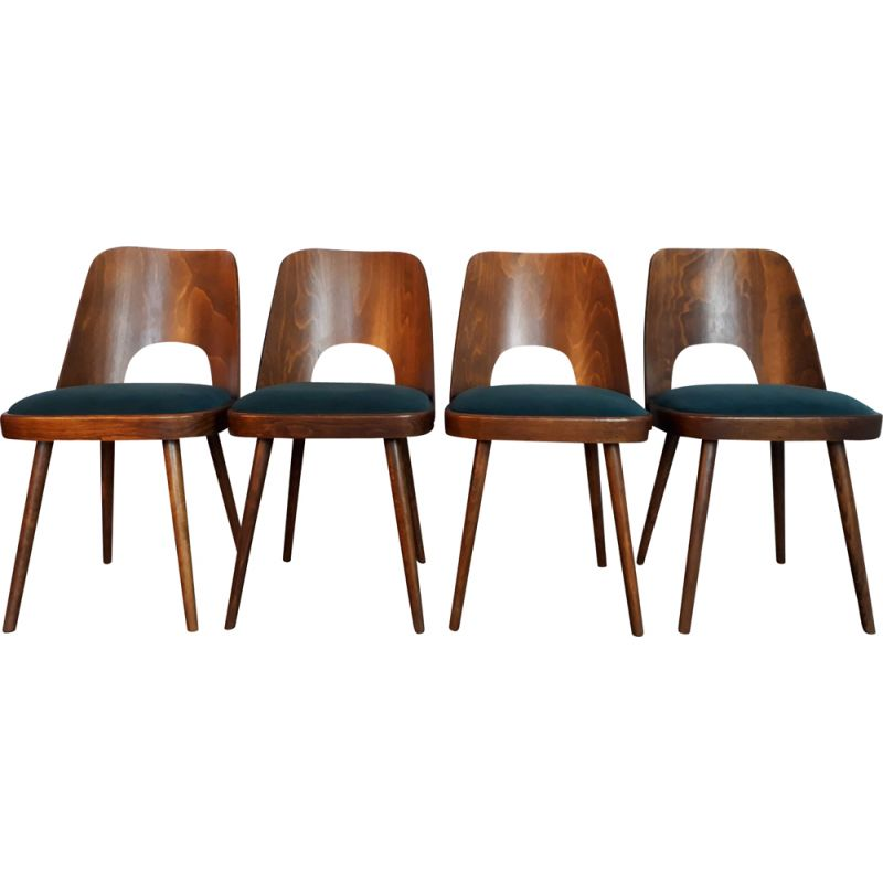 Set of 4 blue chairs by Oswald Haerdtl for TON