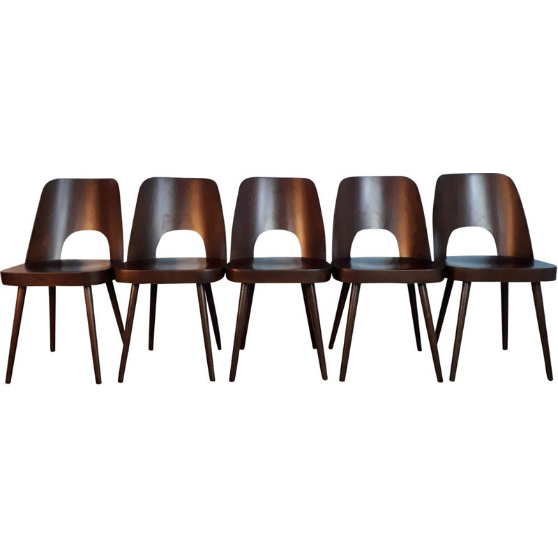 Set of 5 chairs in walnut by Oswald Haerdtl for TON