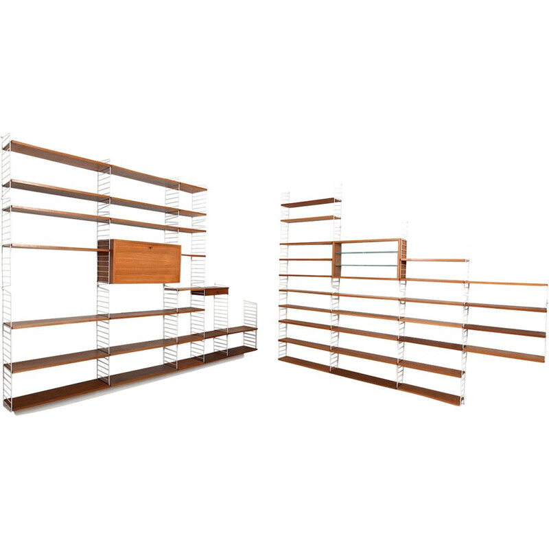 Vintage shelving system in teak by Nisse Strinning