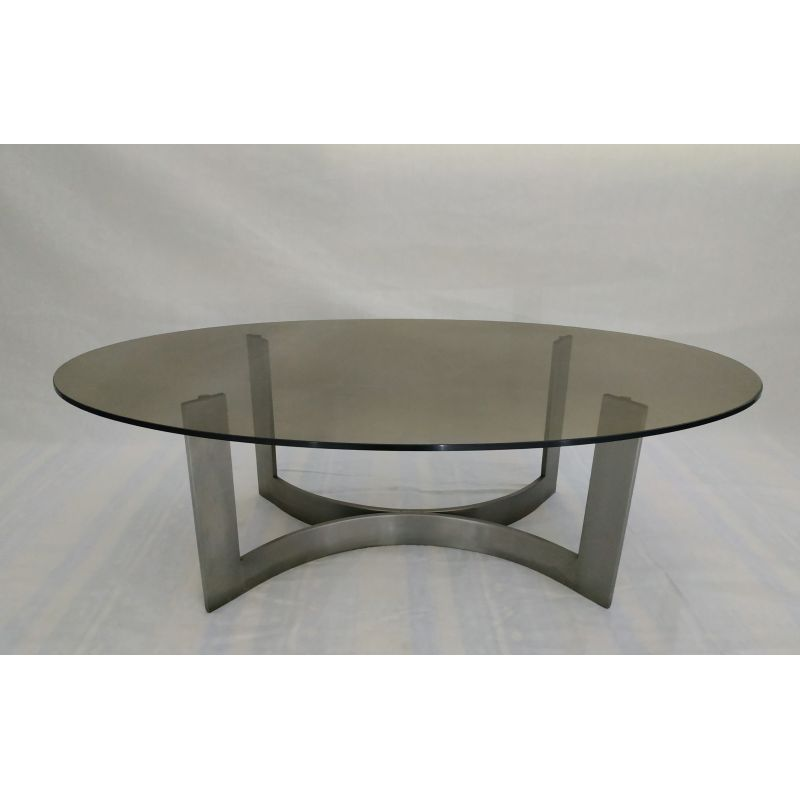 Vintage Steel And Smoked Glass Coffee Table Design Market