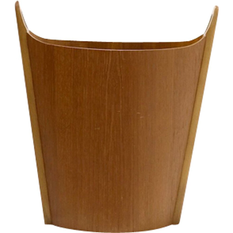 Vintage scandinavian teak paper bin for P S Heggen Norway 1950