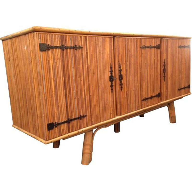 Vintage sideboard by Audoux Minet in bamboo 1950