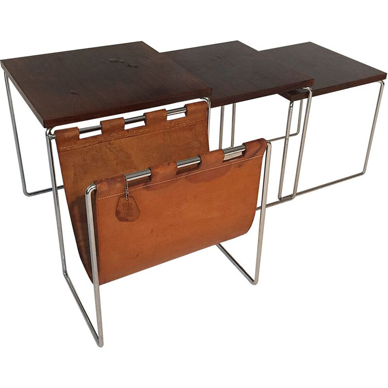 Vintage rosewood nesting tables with magazine rack in leather 1960