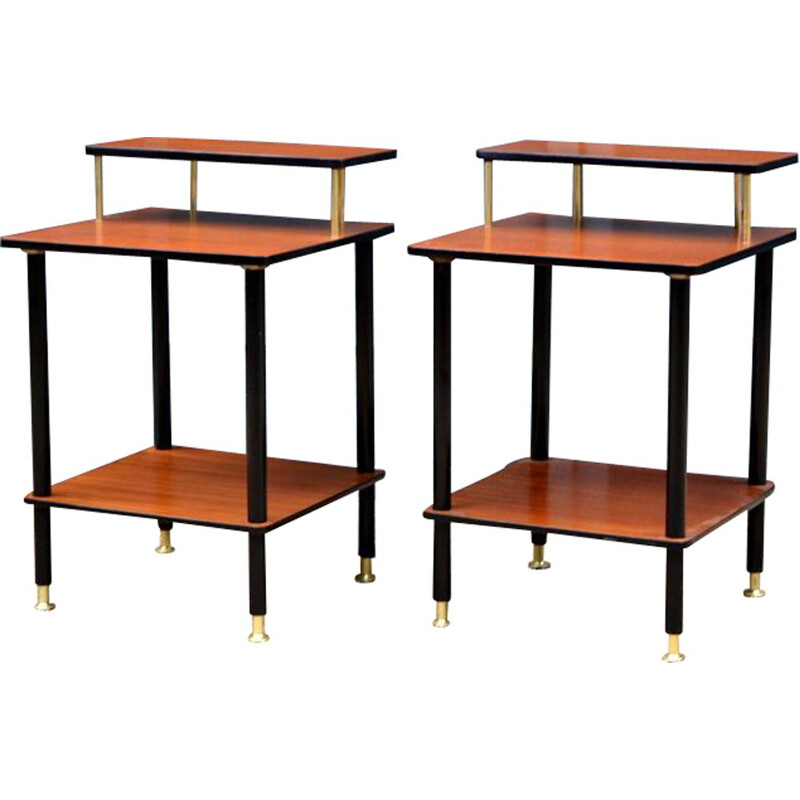 Pair of vintage bedside tables in wood 1960