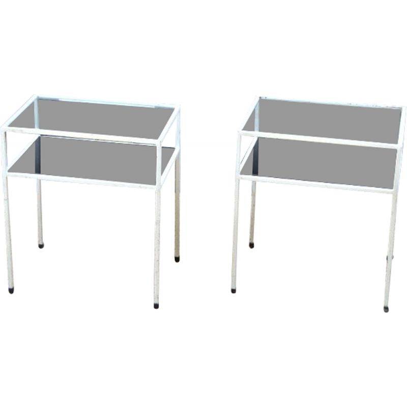 Pair of vintage white metal and glass night tables