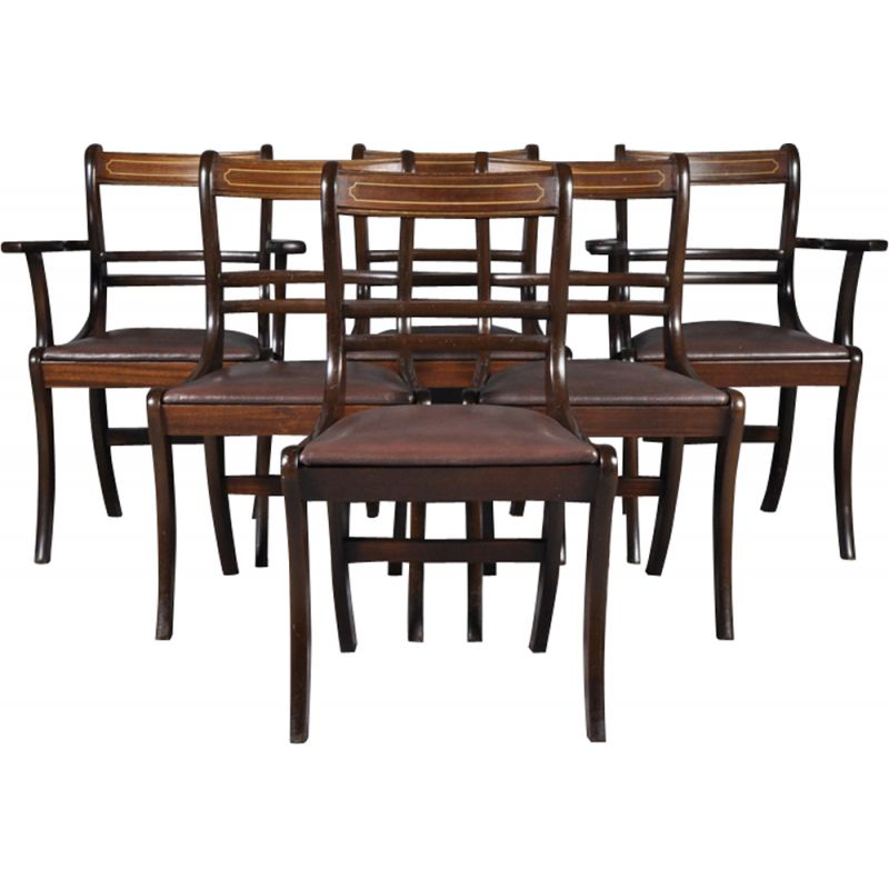 Set of 6 vintage chairs in mahogany