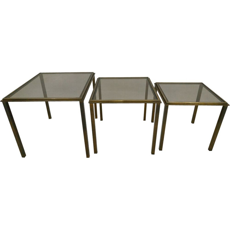 Set of 3 nesting tables in brass