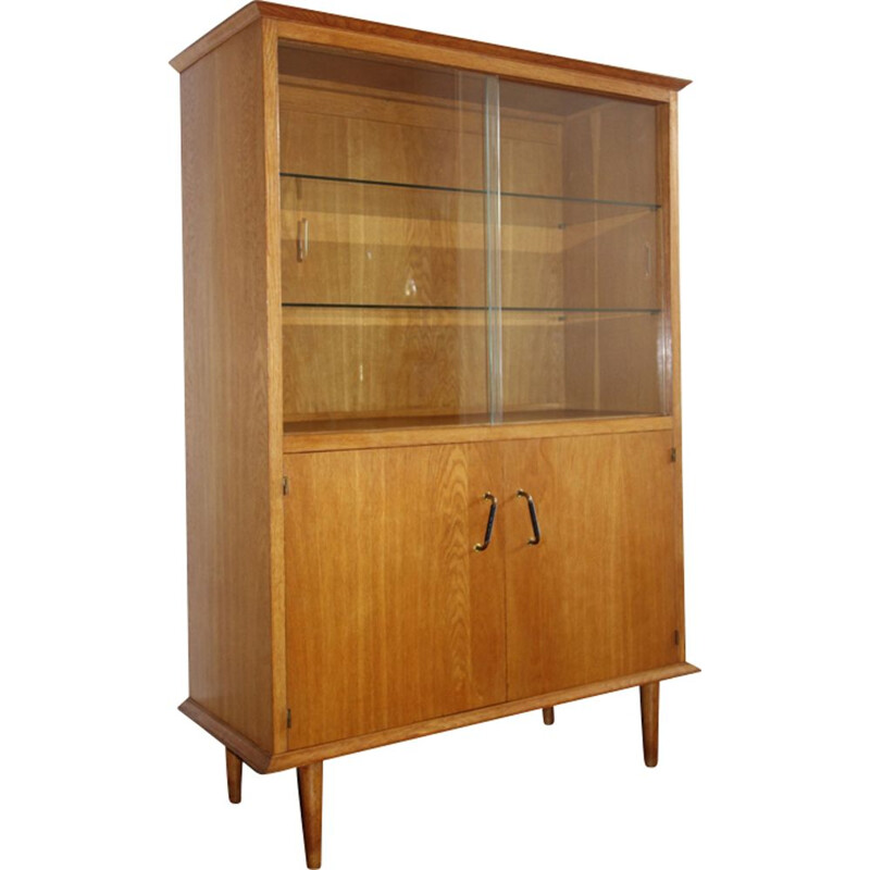 Vintage oak and glass bookcase