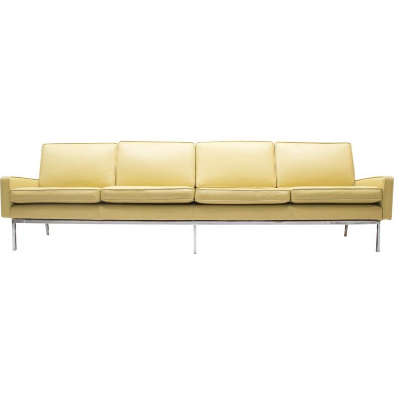 Beige leather 4-seater sofa by Florence Knoll