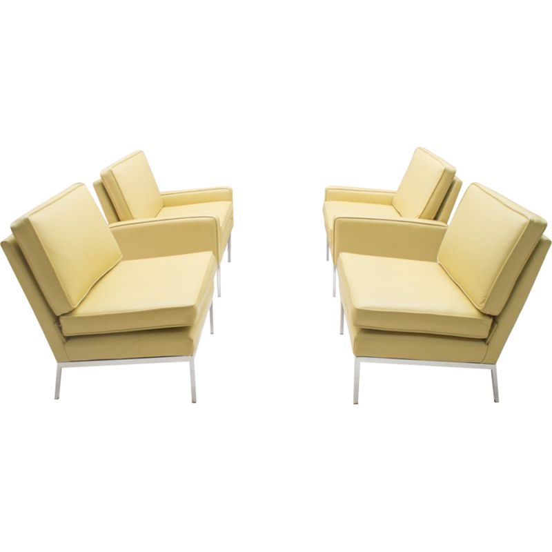 Set of 4 beige leather armchairs by Florence Knoll