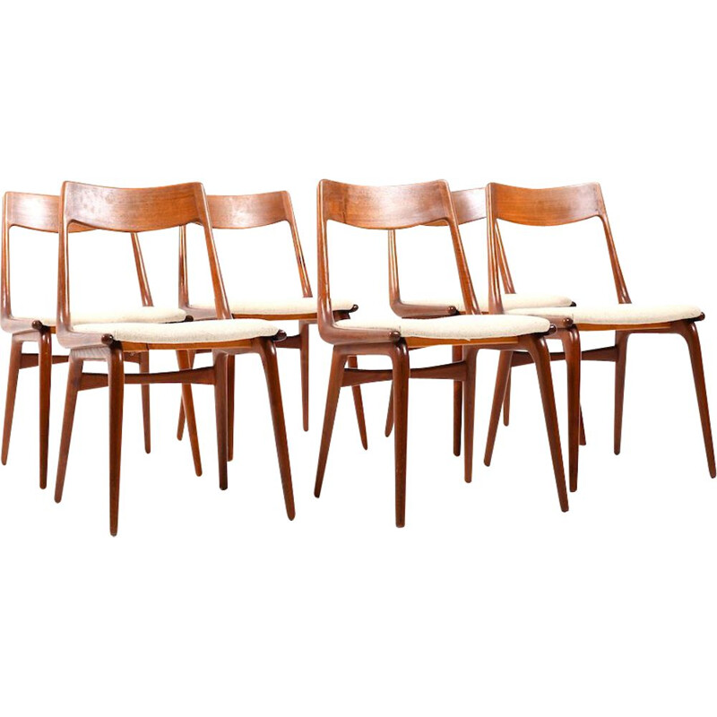 Set of 6 vintage boomerang teak chairs by Alfred Christensen