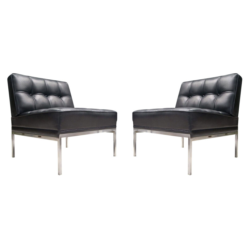 Set of 2 Leather Constanze Vintage Armchairs with Ottoman by Johannes Spalt for Wittmann