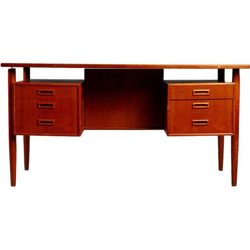 Vintage Danish teak desk by Dansk Mobelproducent