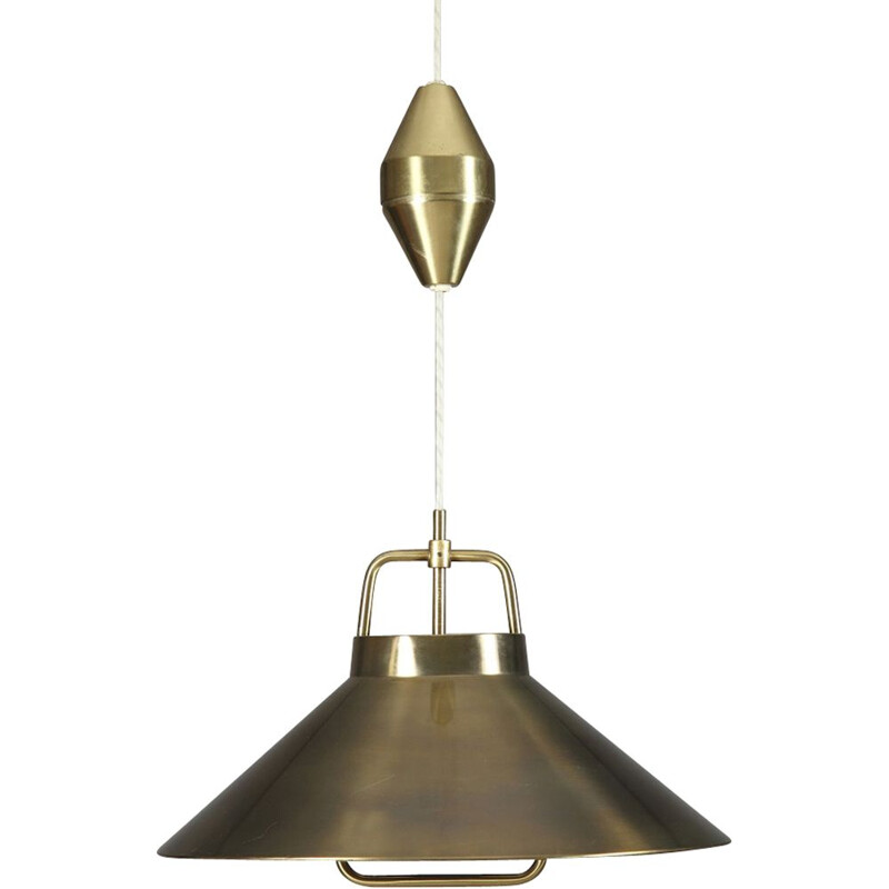 Vintage brass hanging lamp by Frits Schlegel to Lyfa