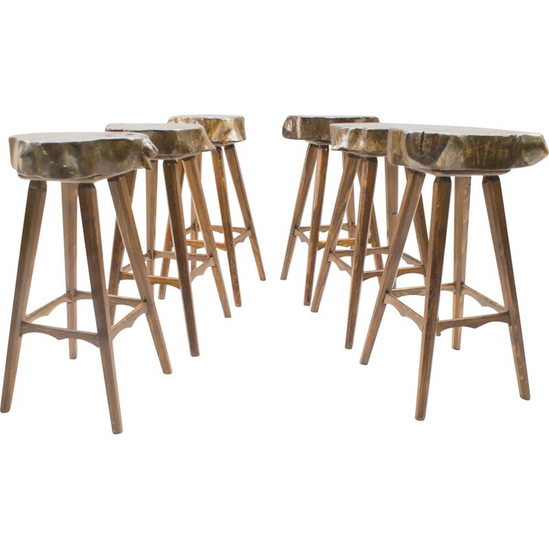 Set of 6 vintage French wooden bar stools
