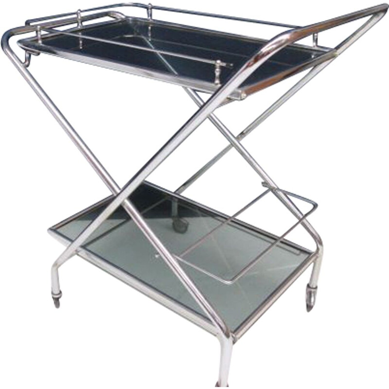 Vintage folding trolley in chrome with wheels