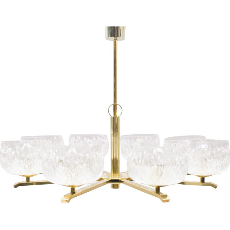 Vintage 8-armed chandelier in brass with structured glass shades