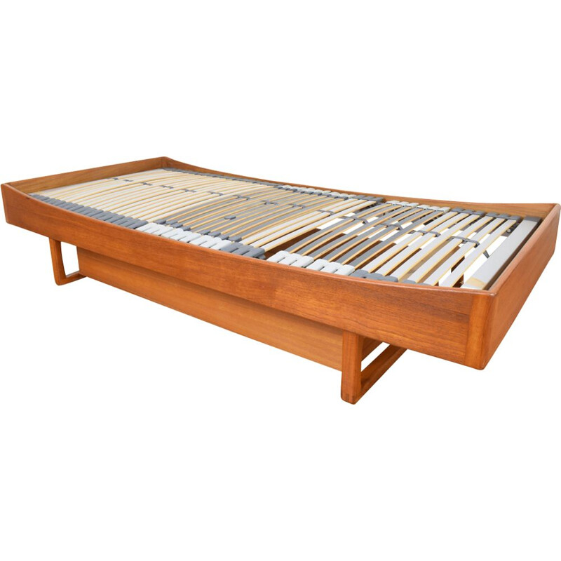 Vintage danish teak bed for Poul Hundevad 1960s