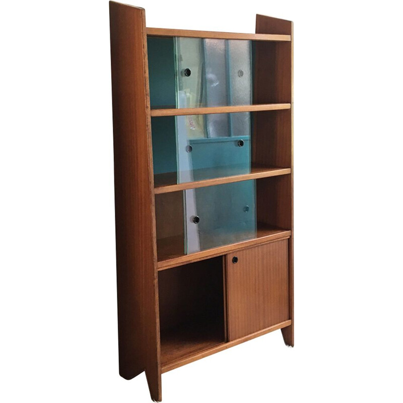 French vintage showcase library in mahogany 1960