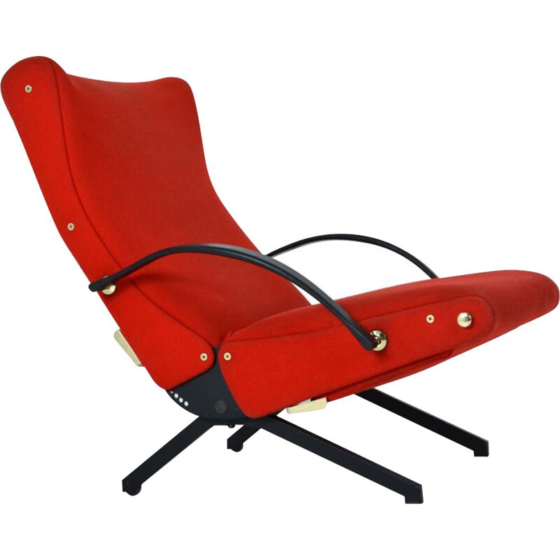Vintage P40 armchair for Tecno in red fabric 1960