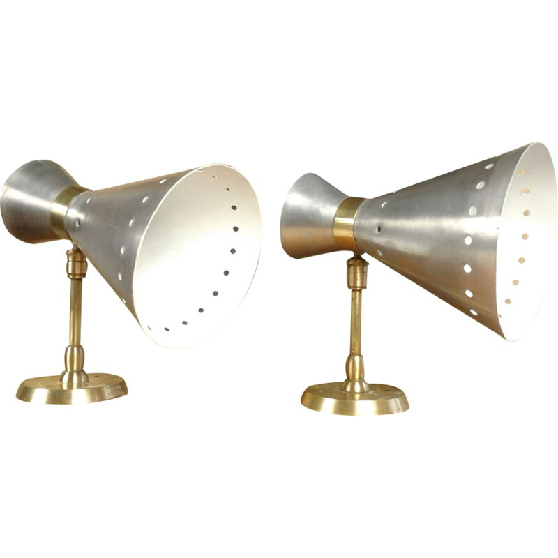 Pair of french vintage diabolo aluminum sconces 1950