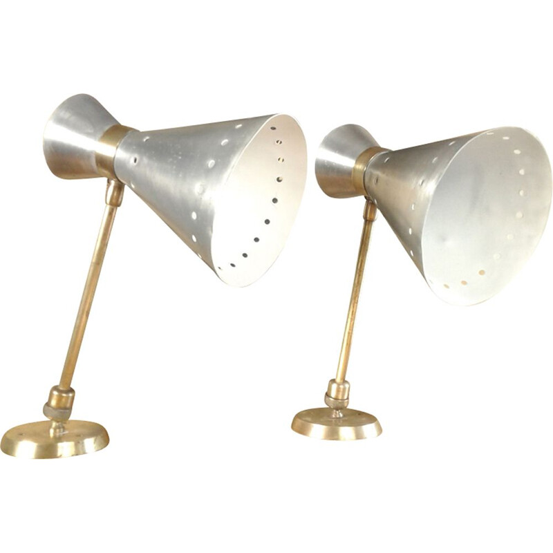 Pair of vintage french Diabolo sconces in aluminum 1950