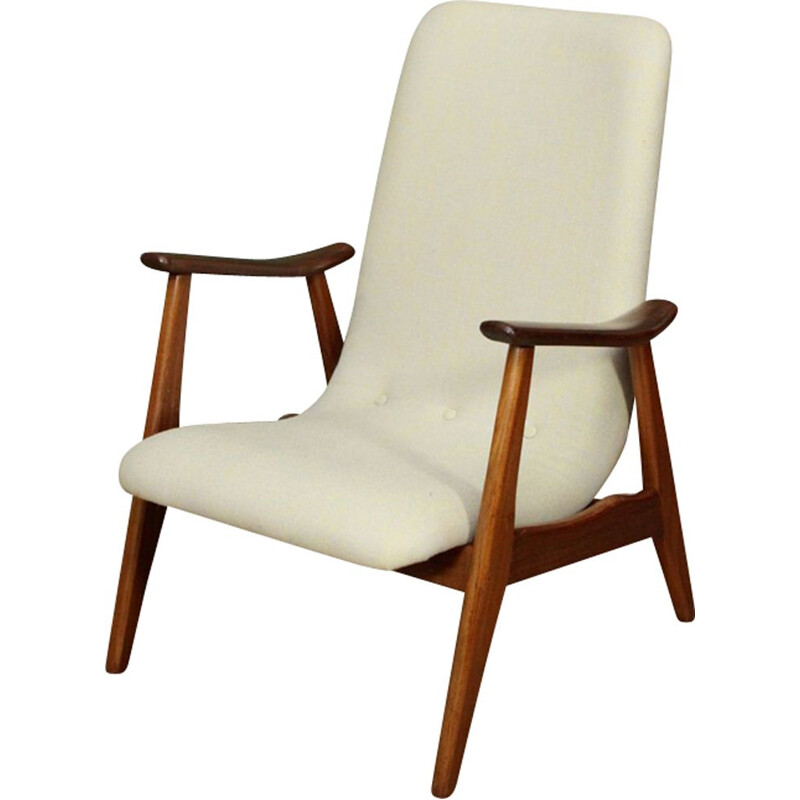 Vintage dutch white wool and teak armchair by Louis van Teeffelen