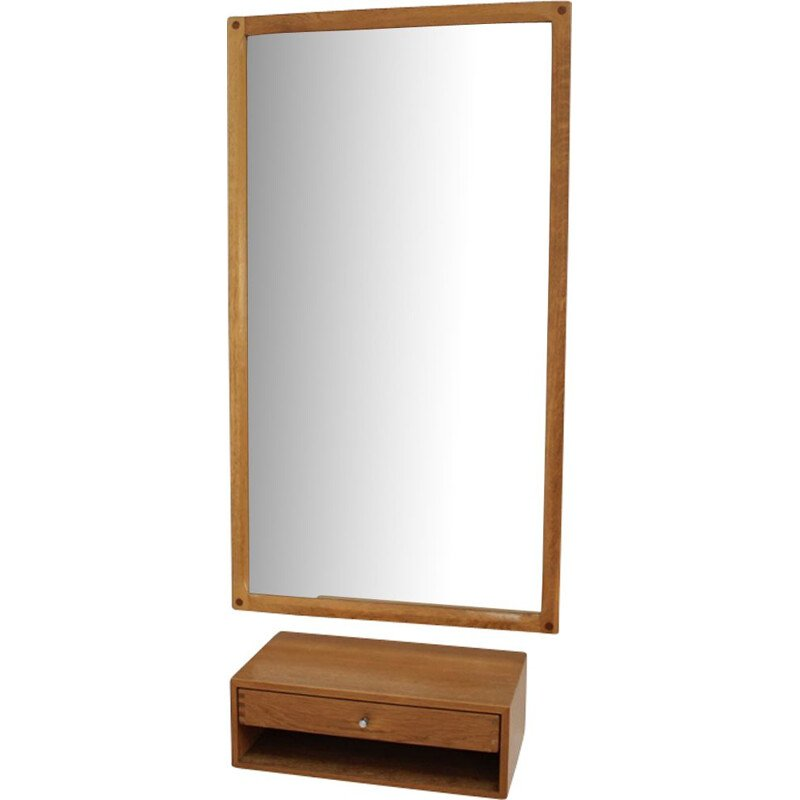 Set of vintage mirror and drawer in oak for Aksel Kjersgaard 1960