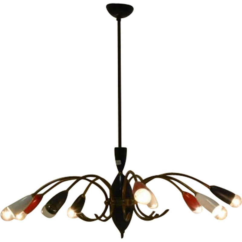 Vintage french red and black chandelier in brass and metal 1960