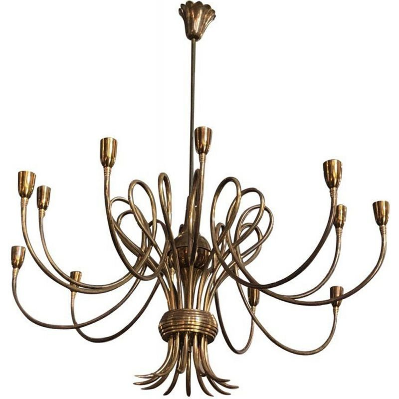 Vintage chandelier in golden brass by Oscar Torlasco