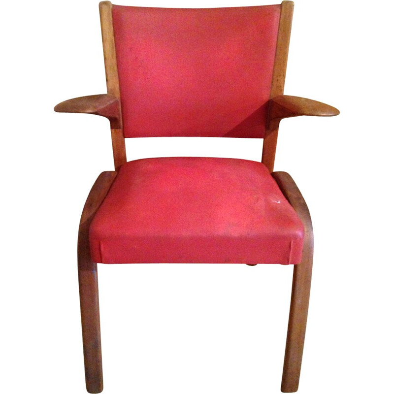 Bow-Wood chair in red leatherette by Steiner