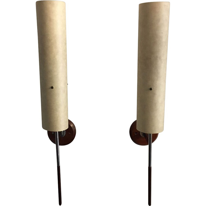 Pair of beige wall lamps in teak