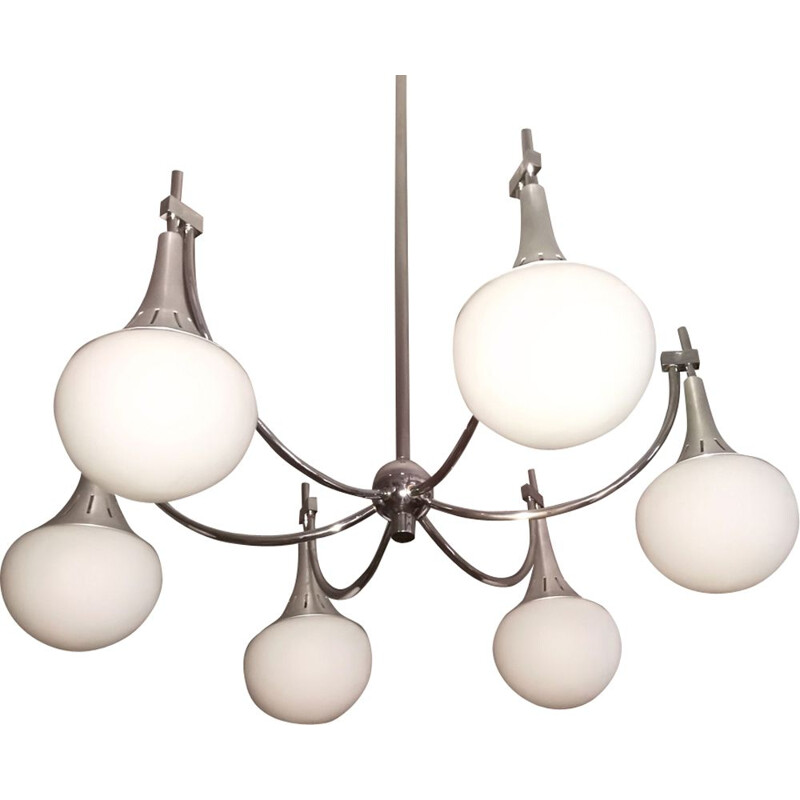 Vintage chandelier in silvered metal by Gaetano Sciolari