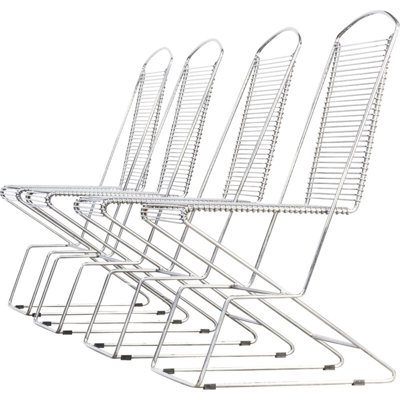 Set of 4 vintage german metal chairs for Schlubach 1980