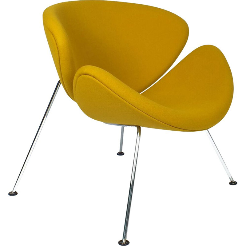 Orange Slice armchair in yellow fabric by Pierre Paulin for Artifort