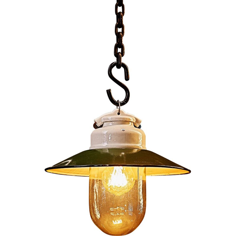 Vintage industrial pendant lamp in porcelain