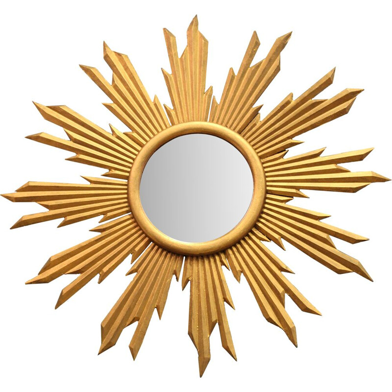 Vintage Sun mirror in golden glass