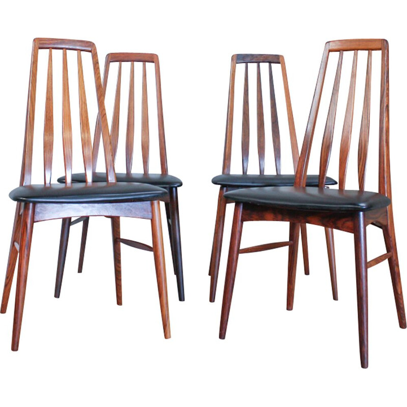 Set of 4 Eva chairs in rosewood by Niels Kofoed