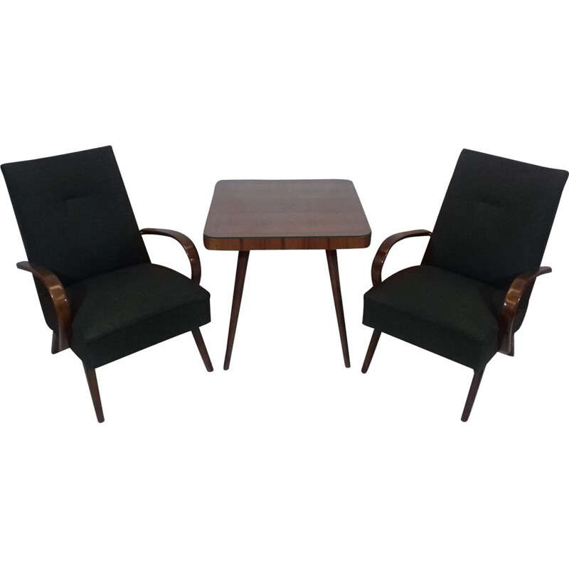 Set of 2 vintage armchairs and table by Jindřich Halabala in green fabric and oakwood