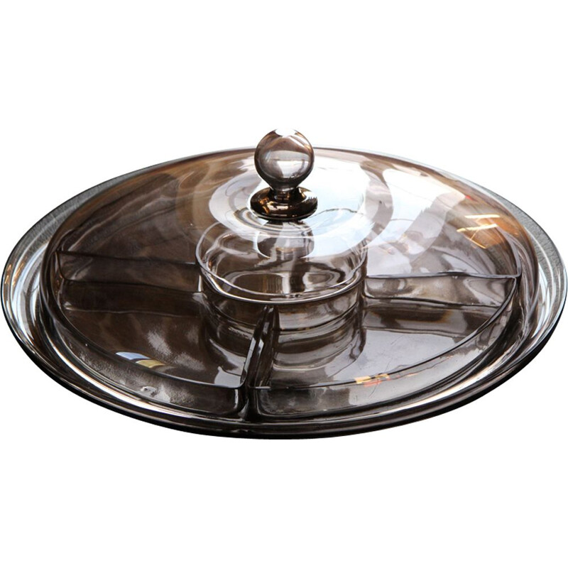 Vintage scandinavian tray for Orrefors in smoked glass 1930
